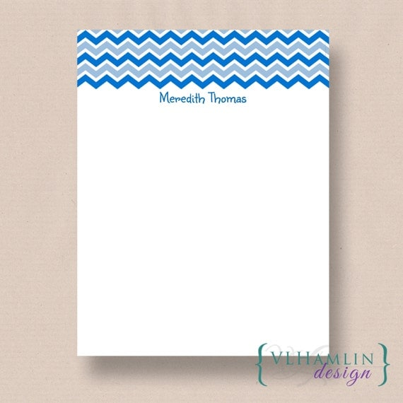Lake Blue Chevron, Personalized Note Paper, Printable Stationery