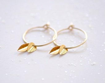 Double leaf hoops earrings - gold filled small simple dainty earrings - edor