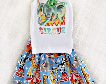 Circus Party Skirt Outfit Retro Custom Size Newborn to 3T Infant Toddler Big Top Birthday Vintage