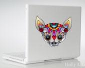 Chihuahua Sugar Skull Vinyl Flower Dog Decal Sticker