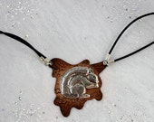 Squirrel necklace made of sterling silver and copper. Woodland collection. Rustic jewelry