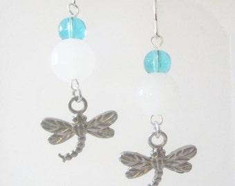 Light Blue and White Pewter Dragonfly Earrings Handmade