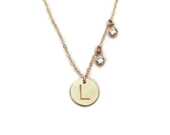 Hand stamped personalized gold initial disc necklace with cubic zirconia accents Perfect jewelry gift for mother's day!