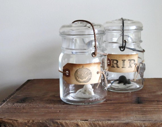 Franken Jars for Halloween - Set of 2