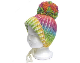Baby pom pom wool hat beanie 6 to 24 months rainbow colors