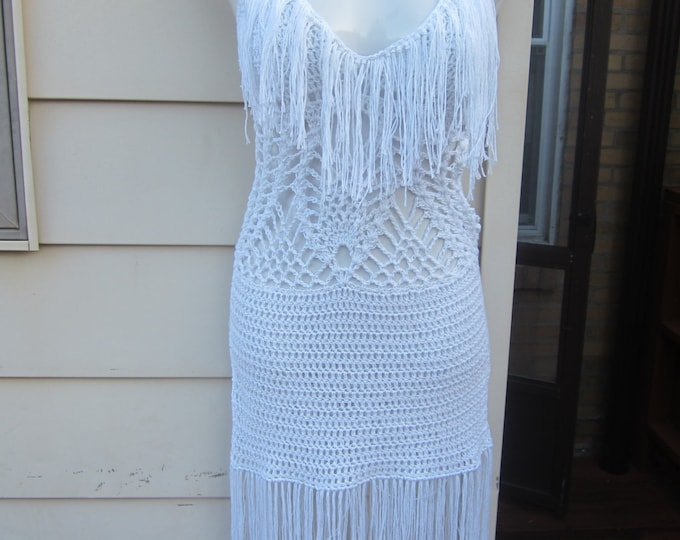 Crochet Fringe Dress, Fringe monokini dress,  WHITE, Festival clothing, summer dress, bohemian, gypsy, Cotton