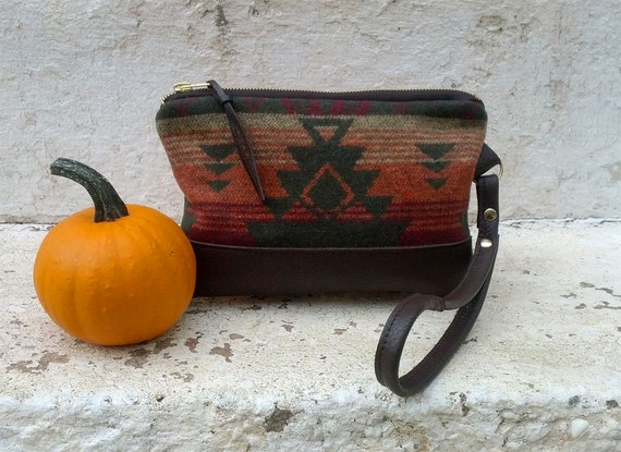 Rustic Tribal Blanket Wristlet Clutch Green Wool w Brown Leather Trim zipper Closure Southwestern Native American Mesa Style