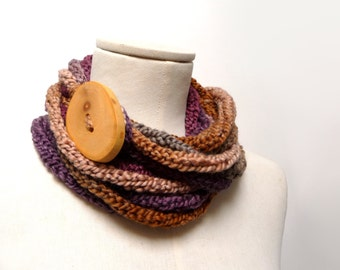 Loop Infinity Scarf Necklace, Knitted Scarlette Neckwarmer - Brown, Beige, Purple, Mauve ombre yarn with giant wood button