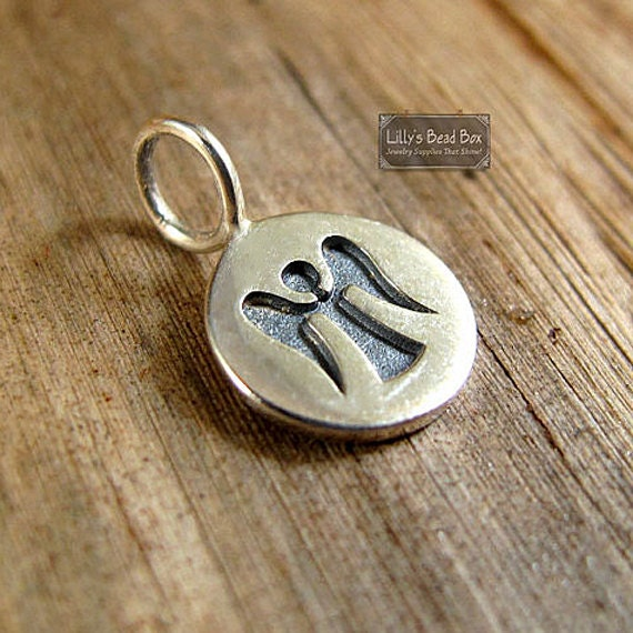 Silver Angel Charm, Sterling Silver Angel Pendant, Round Disc with Stamped Angel, Charm for Making Jewelry (Ch 700)