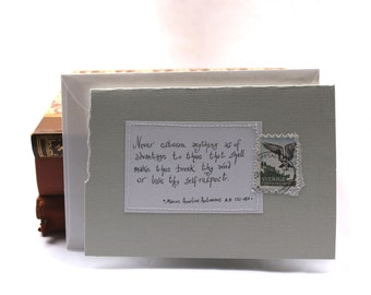 Never esteem anything as of advantage to thee that shall..Grey card with handwritten quote and Swedish osprey postal stamp