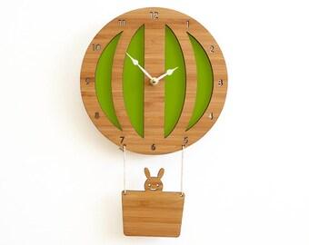 Hot Air Balloon Wall clock Green, wall decor, wall art, baby shower gift, baby room decor, silent clock