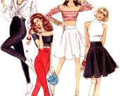 High waisted pants or capri pants or full rockabilly style skirt vintage 80s sewing pattern Vogue 7196 Sz 2 to 8 XS Uncut