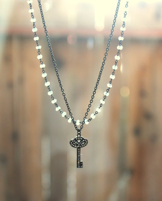 Key Pendant Necklace, Two Tier Necklace Double Layer, Oxidized Silver, Unique Jewelry, White Topaz Black Diamond Pave Moonstone Necklace