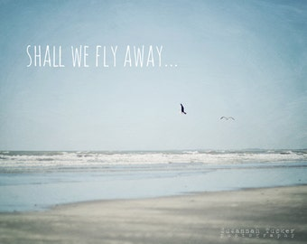 Beach photography, typography wall art, ocean photo, whimsical, pale blue, flying seagulls, beach decor - Shall We Fly Away