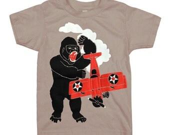 KIDS Gorilla T-shirt - Boy Girl Youth Children Plane Tee Shirt Awesome Monster NYC NY New York Ape Organic Cotton Airplane Biplane Tshirt