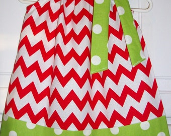 CIJ Sale Pillowcase Dress with Chevron Dress Red and Lime green Chevron and Dots baby dress toddler dress girls dress Christmas Dress