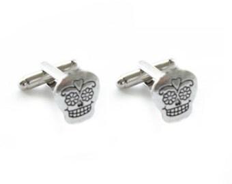 Skull Cufflinks, silver sugar skull cuff links,  Men Cuff links Gift Birthday anniversary gothic pirate, day of dead, Mexican holiday
