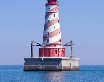 White Shoal, Lighthouse Photo, Lake Michigan, Barber Pole Light,  Michigan Photography, Red And White, Landscape Print, Fine Art Photograph