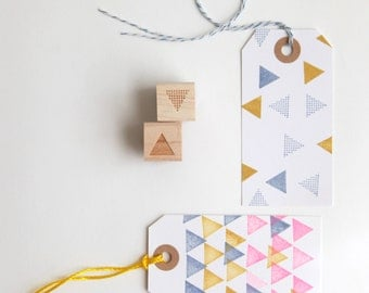 "Geometric Triangles and Polka Dots Rubber Stamps (Wood Mounted) Abstract Design Set of 2, Mini Duos 1/2"" size (M8A-8B) Scrapbooking and DIY"