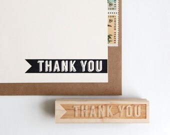 Thank You Rubber Stamp in Retro Typography, Original Midcentury Modern Design (Wood Mounted) with optional wooden handle (S108) DIY Cards