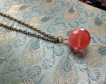 Long Brass Chain Necklace with Cherry Quartz Drop