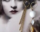 Opal White Earrings Asymetric - Mismatched Earrings - Vintage Inspired - Milky Glass - Golden Horn - Veronica II Earrings (SD0633)