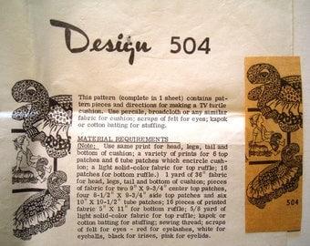 Vintage Mail Order Pattern Design 504. TV Turtle Cushion Pattern. Large Soft Sculpture Tortoise Toy.