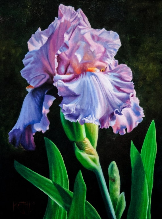 Iris Flower Art Print Floral Painting Reproduction Of