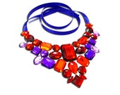 Red and Purple Rhinestone Statement Bib Necklace, Red and Purple Necklace, Jeweled Bib Necklace, Red Bib Necklace, Red Statement Necklace