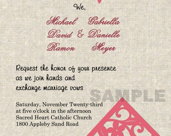 Coral Birdhouse Wedding Invitations