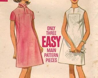 1960s Butterick 5173 Vintage Sewing Pattern Misses Dress Size 12 Bust 34
