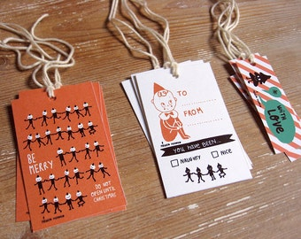 Pixie Elf Holiday Gift Tags. Be Merry. Naughty or Nice. With Love. To From. Christmas gift wrapping. Woodland Holiday. Pixie Elf packaging.