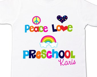 Back to school shirt - colorful peace love preschool personalized back to school Tshirt