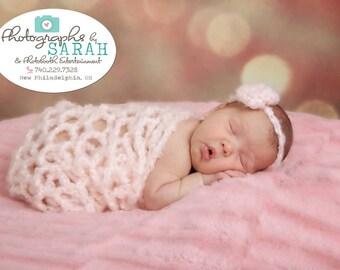 "Pale Pink Photo Prop Blanket, Lacy Newborn Wrap, Newborn Photo Prop, Basket Filler, Layering Blanket, Mohair Crochet Blanket,  24"" x 20"""