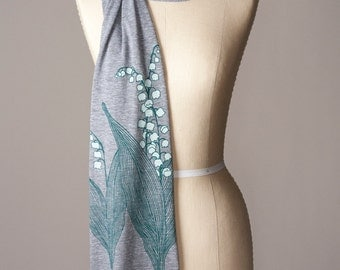 ON SALE jersey scarf, lily of the valley scarf, lily-of-the-valley, spring scarf, long gray scarf