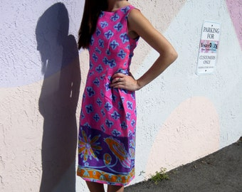 1960s Pink & Purple Wiggle Dress from Hawaii