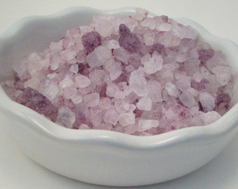 Bath Salts - Patchouli Rose Essential Oil Scented Pink Bath Crystals - 11 Ounce Bag