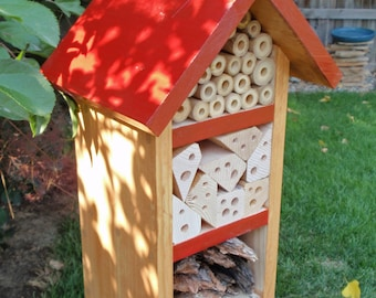 Handmade Beneficial Bug Box, Solitary Bee House, All Natural Insect Box, Insect Habitat, Triple Compartment Bug House, Bold Red Garden Decor
