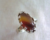 Handmade Gemstone Ring Brazilian Agate and Sterling Silver Statement Ring