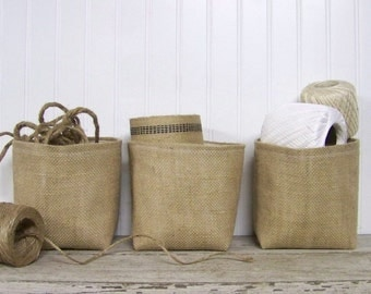 free shipping - set of three burlap baskets - burlap basket - storage basket - organization - set of 3 - gift basket - fabric basket -