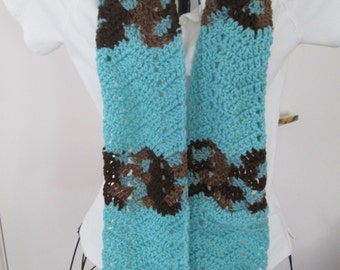 Earth and Sky and Aruba Sea Chevron Scarf, Ready to Ship