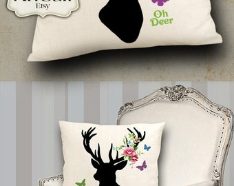 Two Printable Digital Images FOREST DEERS to print on fabric / paper, Iron On Transfer for totes t-shirts pillows home decoration by ArtCult