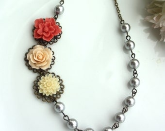 Coral Red, Peach, Ivory, Silver Grey Pearls, Multi Flower Necklace. Vintage Style. Bridesmaid Gift Ideas. Bridal Wedding. Maid of Honor.