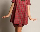 35cafceb29 Tartan Nightdress Babydoll Nightdress Plaid Pyjamas Vintage Style Nightshirt  Christmas Pyjamas Size sxxl TOP ONLY