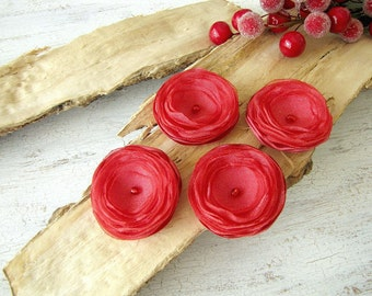 Tiny and Thick- Handmade satin organza sew on flower appliques, floral embellishments for DIY crafts, fabric flowers (4pcs)- CORAL BLOSSOMS
