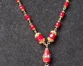 Vintage Micro Mosaic Necklace--Cherries YUM