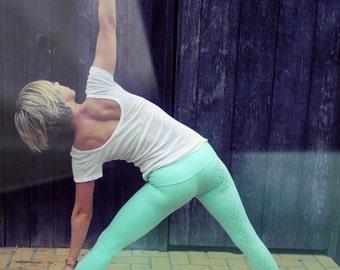 organic yoga pants, yoga leggings, womens yoga pants, mint green leggings, triangle leggings, organic cotton leggings, organic pants