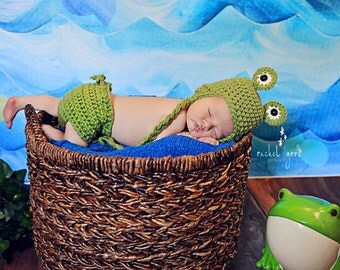 Frog Prince Earflap Hat and Diaper Cover Gift Set - newborn - photography prop - ready to ship