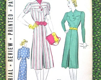 Uncut 1930s Pictorial Review Printed Pattern 9646 Vintage Sewing 30s Dress Pattern  Bust 40 inches