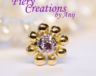 """Nose Screw/ Tragus stud """"Cinderella's Dream"""" Flower - 18k SOLID Yellow Gold & Platinum with a 2pt. Fancy Pale Pink Champagne Diamond, OOAK"""